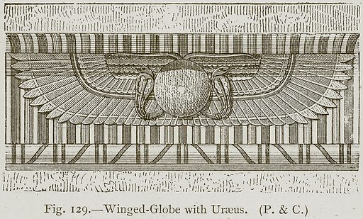 Winged-Globe with Uraeus. Illustration for Historic Ornament by James Ward (Chapman and Hall, 1897).