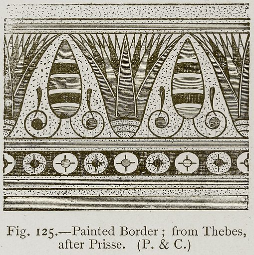 Painted Border; from Thebes, after Prisse. Illustration for Historic Ornament by James Ward (Chapman and Hall, 1897).