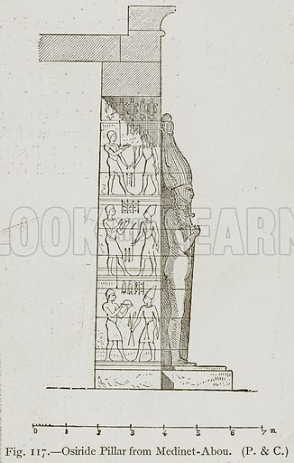 Osiride Pillar from Medinet-Abou. Illustration for Historic Ornament by James Ward (Chapman and Hall, 1897).