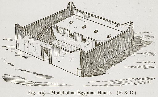 Model of an Egyptian House. Illustration for Historic Ornament by James Ward (Chapman and Hall, 1897).
