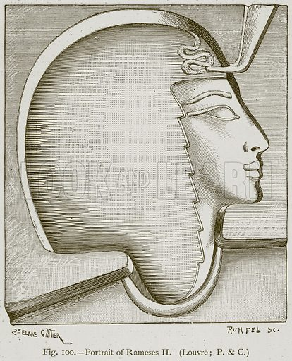 Portrait of Rameses II. Illustration for Historic Ornament by James Ward (Chapman and Hall, 1897).