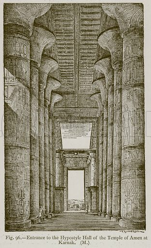 Entrance to the Hypostyle Hall of the Temple of Amen at Karnak. Illustration for Historic Ornament by James Ward (Chapman and Hall, 1897).