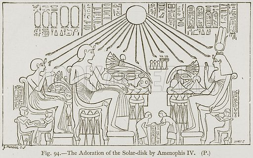 The Adoration of the Solar-Disk by Amenophis IV. Illustration for Historic Ornament by James Ward (Chapman and Hall, 1897).