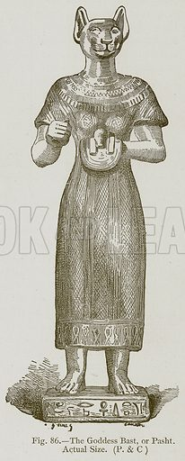 The Goddess Bast, or Pasht. Illustration for Historic Ornament by James Ward (Chapman and Hall, 1897).