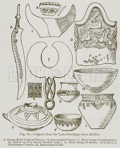 Objects from the Lake Dwellings (from Keller). A, Bronze Knife (Lake of Bienne); B, Ornamented Pottery; C, Moon Image of Earthenware; D, Part of an Iron Sword (Gaulish Work); E, Moon Image of Bronze; F, G, H, I, J, Earthenware Vessels; K, Embroidered Cloth. Illustration for Historic Ornament by James Ward (Chapman and Hall, 1897).