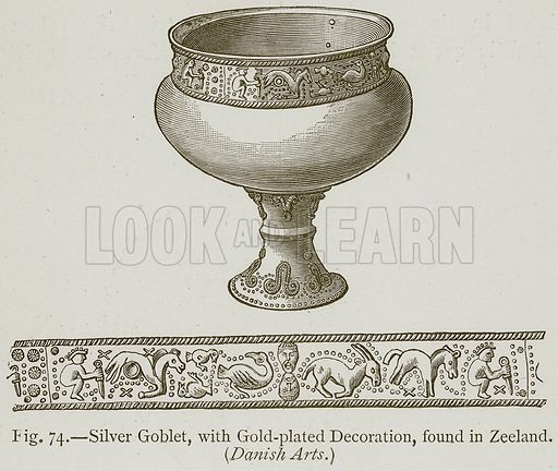 Silver Goblet, with Gold-Plated Decoration, found in Zeeland. (Danish Arts.) Illustration for Historic Ornament by James Ward (Chapman and Hall, 1897).