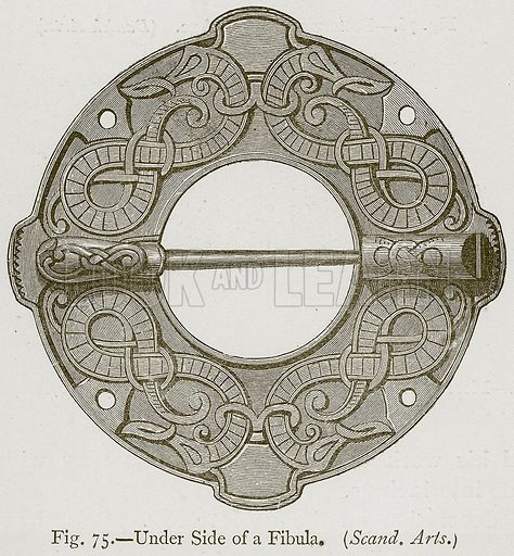 Under Side of a Fibula. (Scand. Arts.) Illustration for Historic Ornament by James Ward (Chapman and Hall, 1897).