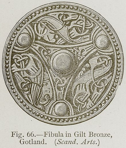 Fibula in Gilt Bronze, Gotland. (Scand. Arts.) Illustration for Historic Ornament by James Ward (Chapman and Hall, 1897).