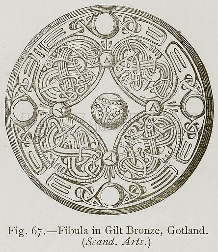 Fibula in Gult Bronze, Gotland. (Scand. Arts.) Illustration for Historic Ornament by James Ward (Chapman and Hall, 1897).