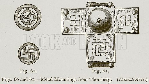 Metal Mountings from Thorsberg. (Danish Arts.) Illustration for Historic Ornament by James Ward (Chapman and Hall, 1897).