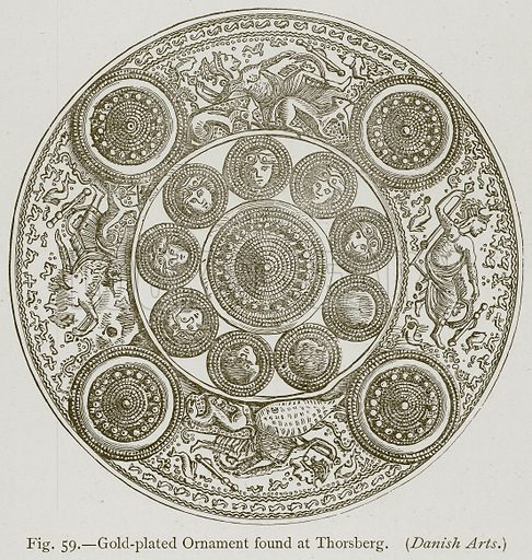 Gold-Plated Ornament found at Thorsberg. (Danish Arts.) Illustration for Historic Ornament by James Ward (Chapman and Hall, 1897).