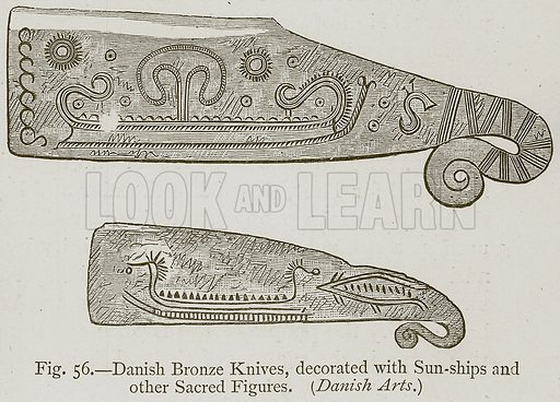 Danish Bronze Knives, decorated with Sun-Ships and Other Sacred Figures. (Danish Arts.) Illustration for Historic Ornament by James Ward (Chapman and Hall, 1897).