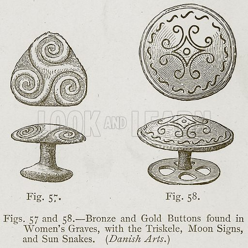 Bronze and Gold Buttons found in Women's Graves, with the Triskele, Moon Signs, and Sun Snakes. (Danish Arts.) Illustration for Historic Ornament by James Ward (Chapman and Hall, 1897).