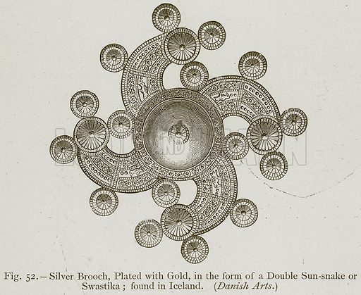 Silver Brooch, Plated with Gold, in the Form of a Double Sun-Snake or Swastika; found in Iceland. (Danish Arts.) Illustration for Historic Ornament by James Ward (Chapman and Hall, 1897).