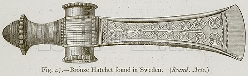 Bronze Hatchet found in Sweden. (Scand. Arts.) Illustration for Historic Ornament by James Ward (Chapman and Hall, 1897).