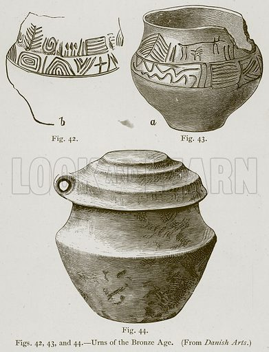 Urns of the Bronze Age. Illustration for Historic Ornament by James Ward (Chapman and Hall, 1897).