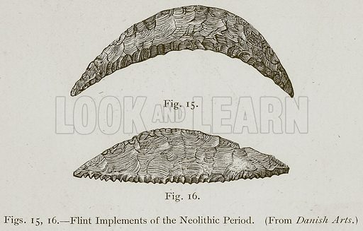 Flint Implements of the Neolithic Period. Illustration for Historic Ornament by James Ward (Chapman and Hall, 1897).