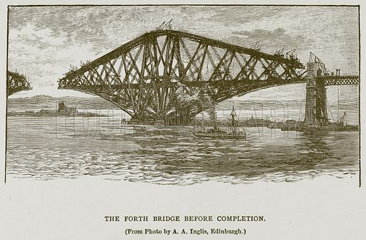 The Forth Bridge before Completion. Illustration for Great Engineers by J F Layson (Walter Scott, c 1880).