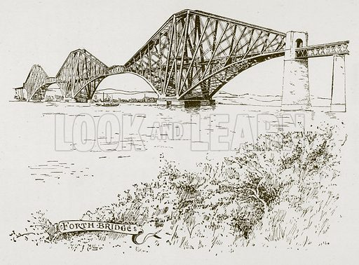 The Forth Bridge. Illustration for Great Engineers by JF Layson (Walter Scott, c 1880).