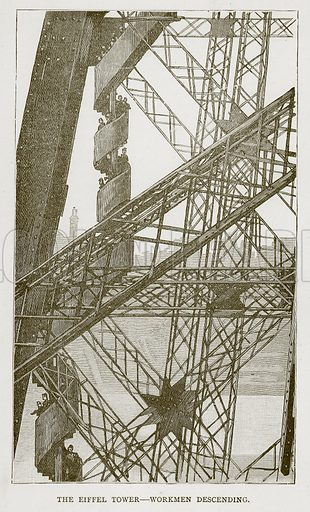 The Eiffel Tower – Workmen Descending. Illustration for Great Engineers by JF Layson (Walter Scott, c 1880).
