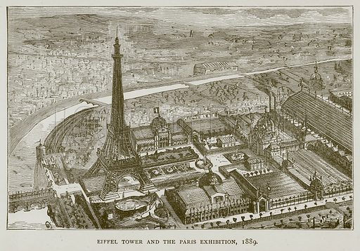 Eiffel Tower and the Paris Exhibition, 1889. Illustration for Great Engineers by J F Layson (Walter Scott, c 1880).