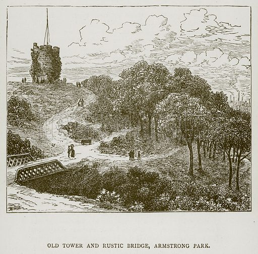 Old Tower and Rustic Bridge, Armstrong Park. Illustration for Great Engineers by JF Layson (Walter Scott, c 1880).