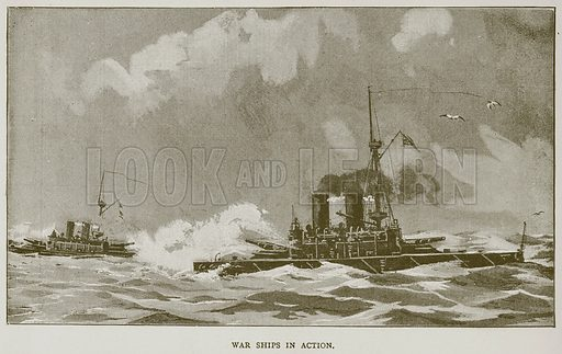 War Ships in Action. Illustration for Great Engineers by J F Layson (Walter Scott, c 1880).