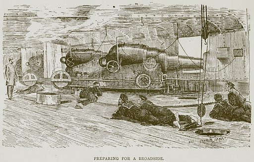 Preparing for a Broadside. Illustration for Great Engineers by JF Layson (Walter Scott, c 1880).