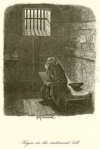 Fagin in the Condemned Cell. Illustration for Oliver Twist by Charles Dickens (Chapman & Hall, 1892).