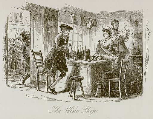 The Wine Shop. Illustration for A Tale of Two Cities by Charles Dickens (Chapman & Hall, 1892).