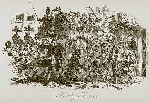 The Spy's Funeral. Illustration for A Tale of Two Cities by Charles Dickens (Chapman & Hall, 1892).