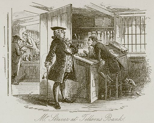 Mr Striver at Tellsons Bank. Illustration for A Tale of Two Cities by Charles Dickens (Chapman & Hall, 1892).