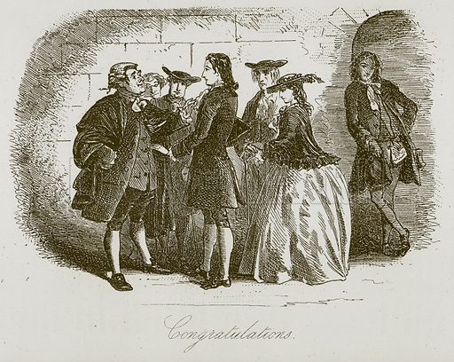Congratulations. Illustration for A Tale of Two Cities by Charles Dickens (Chapman & Hall, 1892).