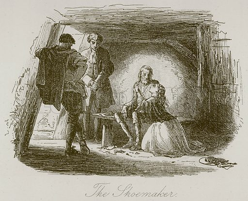 The Shoemaker. Illustration for A Tale of Two Cities by Charles Dickens (Chapman & Hall, 1892).
