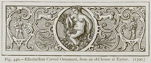 Elizabethan Carved Ornament, from an Old House at Exeter. Illustration for Historic Ornament by James Ward (Chapman and Hall, 1897).