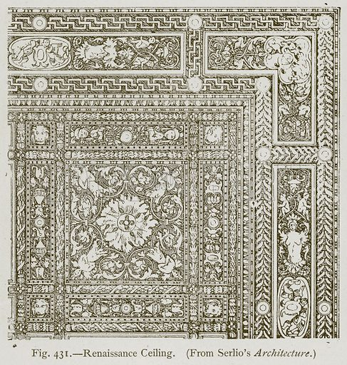 Renaissance Ceiling. Illustration for Historic Ornament by James Ward (Chapman and Hall, 1897).