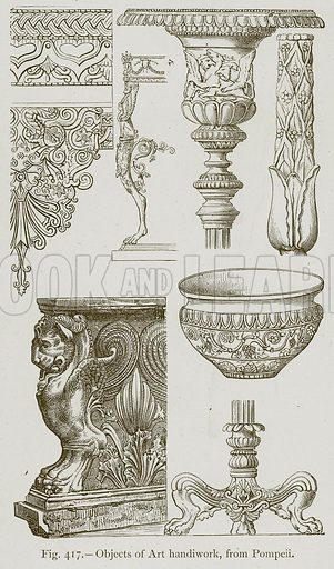 Objects of Art Handiwork, from Pompeii. Illustration for Historic Ornament by James Ward (Chapman and Hall, 1897).