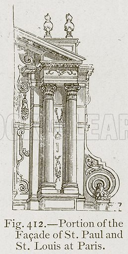 Portion of the Facade of St. Paul and St. Louis at Paris. Illustration for Historic Ornament by James Ward (Chapman and Hall, 1897).