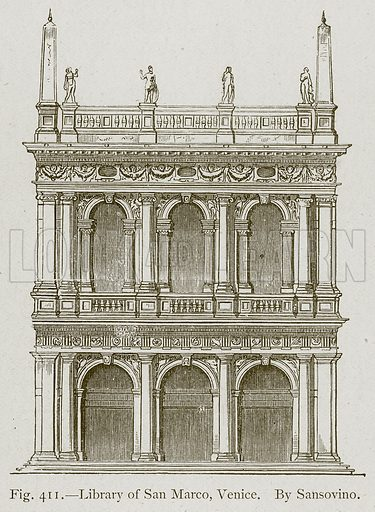 Library of San Marco, Venice. By Sansovino. Illustration for Historic Ornament by James Ward (Chapman and Hall, 1897).