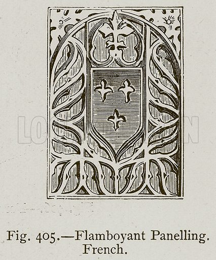 Flamboyant Panelling, French. Illustration for Historic Ornament by James Ward (Chapman and Hall, 1897).