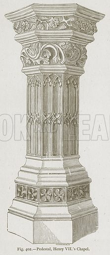 Pedestal, Henry VII's Chapel. Illustration for Historic Ornament by James Ward (Chapman and Hall, 1897).