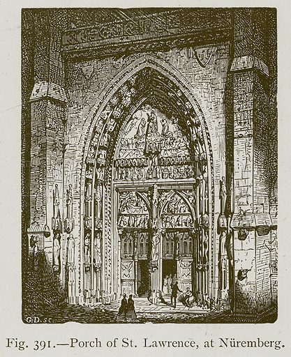 Porch of St Lawrence, at Nuremberg. Illustration for Historic Ornament by James Ward (Chapman and Hall, 1897).