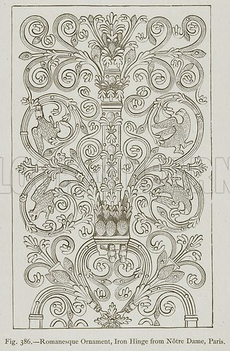 Romanesque Ornament, Iron Hinge from Notre Dame, Paris. Illustration for Historic Ornament by James Ward (Chapman and Hall, 1897).