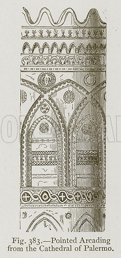 Pointed Arcading from the Cathedral of Palermo. Illustration for Historic Ornament by James Ward (Chapman and Hall, 1897).