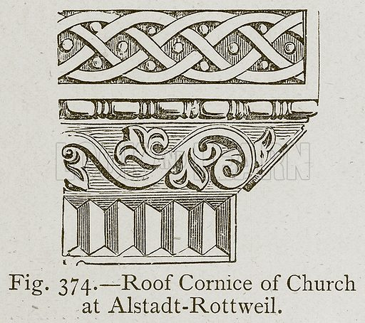 Roof Cornice of Church at Alstadt-Rottweil. Illustration for Historic Ornament by James Ward (Chapman and Hall, 1897).