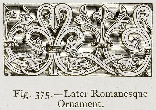 Later Romanesque Ornament. Illustration for Historic Ornament by James Ward (Chapman and Hall, 1897).