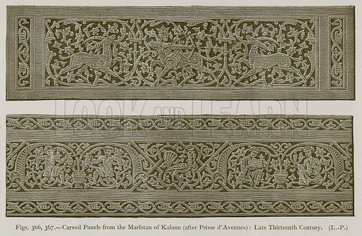 Carved Panels from the Maristan of Kalaun (after Prisse d'Avennes): Late Thirteenth Century. Illustration for Historic Ornament by James Ward (Chapman and Hall, 1897).