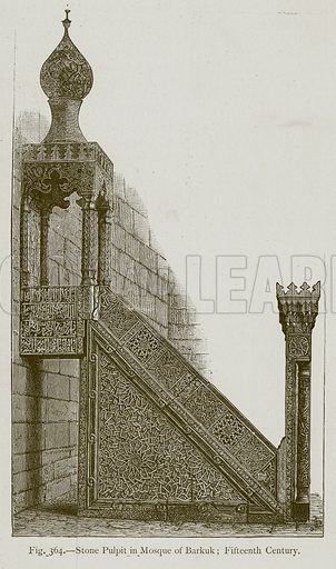 Stone Pulpit in Mosque of Barkuk; Fifteenth Century. Illustration for Historic Ornament by James Ward (Chapman and Hall, 1897).