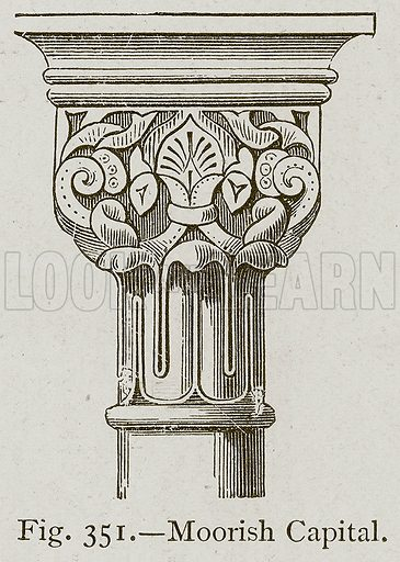 Moorish Capital. Illustration for Historic Ornament by James Ward (Chapman and Hall, 1897).