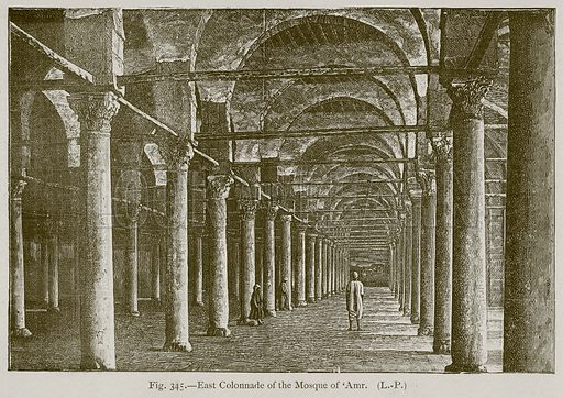 East Colonnade of the Mosque of 'Amr. Illustration for Historic Ornament by James Ward (Chapman and Hall, 1897).